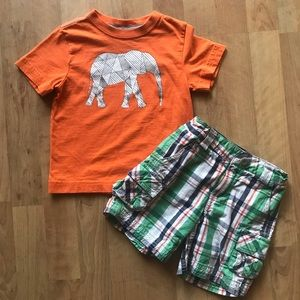 Hanna Andersson 90 3T Elephant Plaid Cargo Shorts